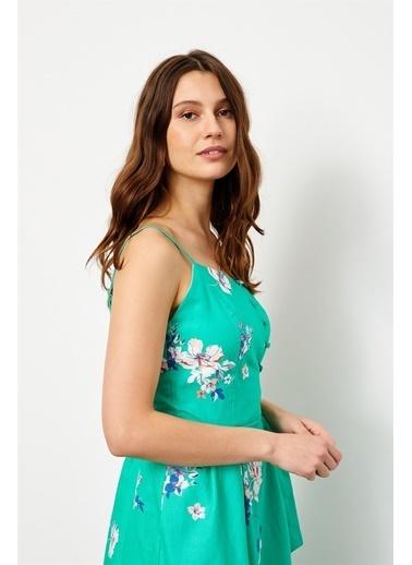 Setre Yeşil ınce Askılı Kuşaklı Bele Oturan Floral Desen Elbise Yeşil